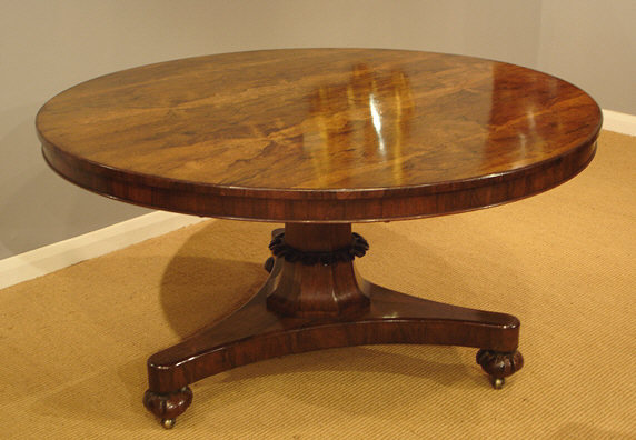 Antique Rosewood Breakfast Table, Antique Round Kitchen Table