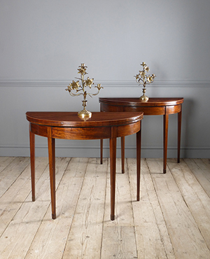 Pair of antique demi lune card tables - £ 4250