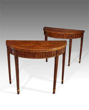 Pair of demi lune card tables - £ 5400