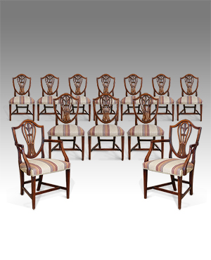 Set of 12 shield back dining chairs - £ 8800